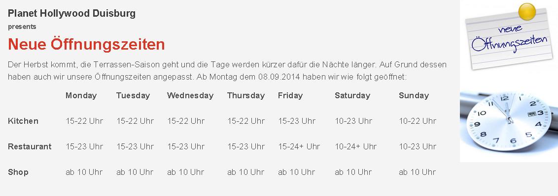 Neue Öffnungszeiten fürs Planet Hollywood Duisburg