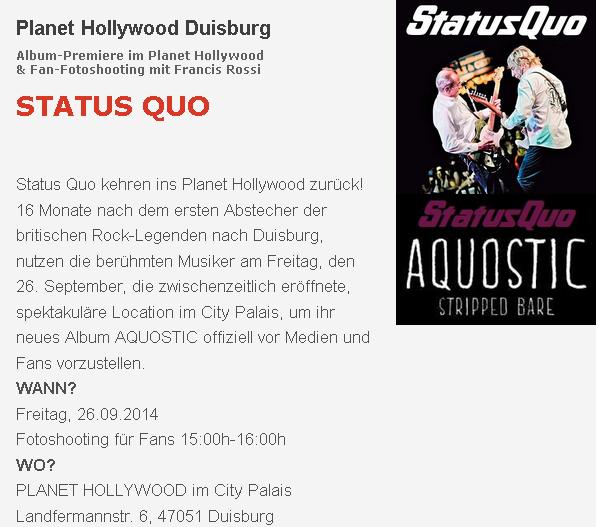 Status Quo im Planet Hollywood Duisburg